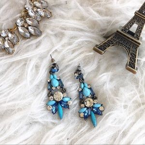 Jewelry - Thinking blue dangle rhinestone crystal earrings